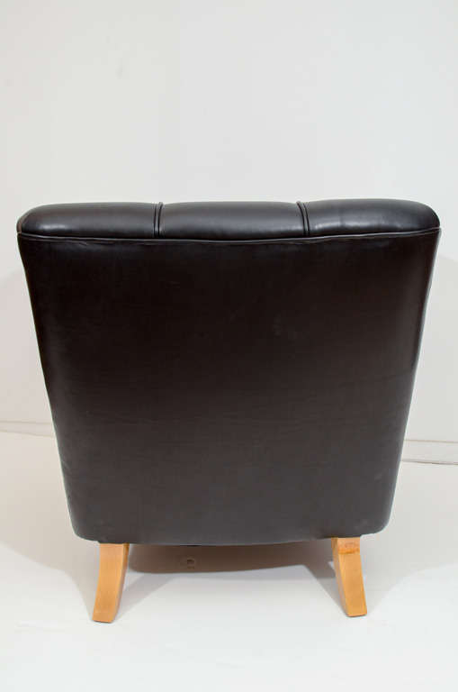 Art Deco Club Chairs in Black Motorcycle Leather For Sale 2