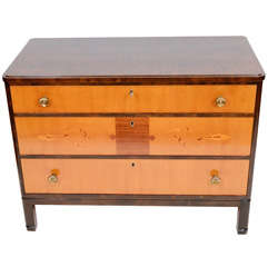 Art Deco Mjolby Intarsia Chest of Drawers with Golden Ash Veneer