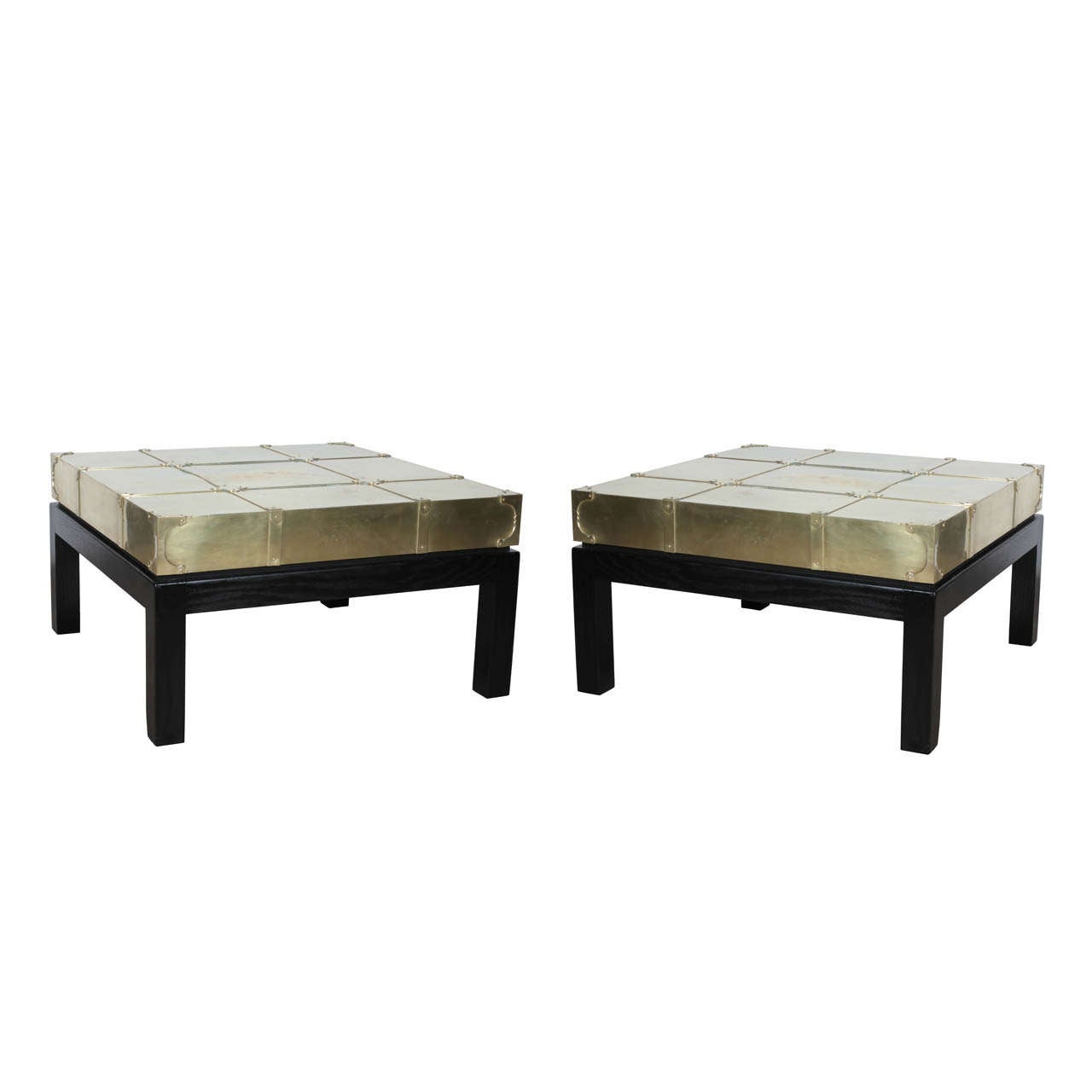 Pair Sarreid Brass and Lacquered Oak Coffee Tables at 1stdibs