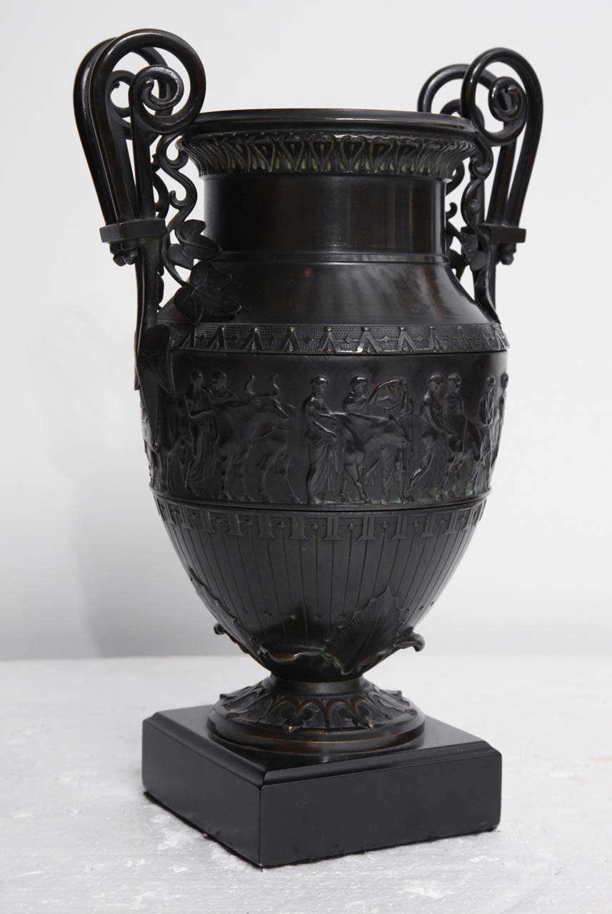 19th Century Italian Neo-Classical Bronze Urn on a Belgian Black Marble Base