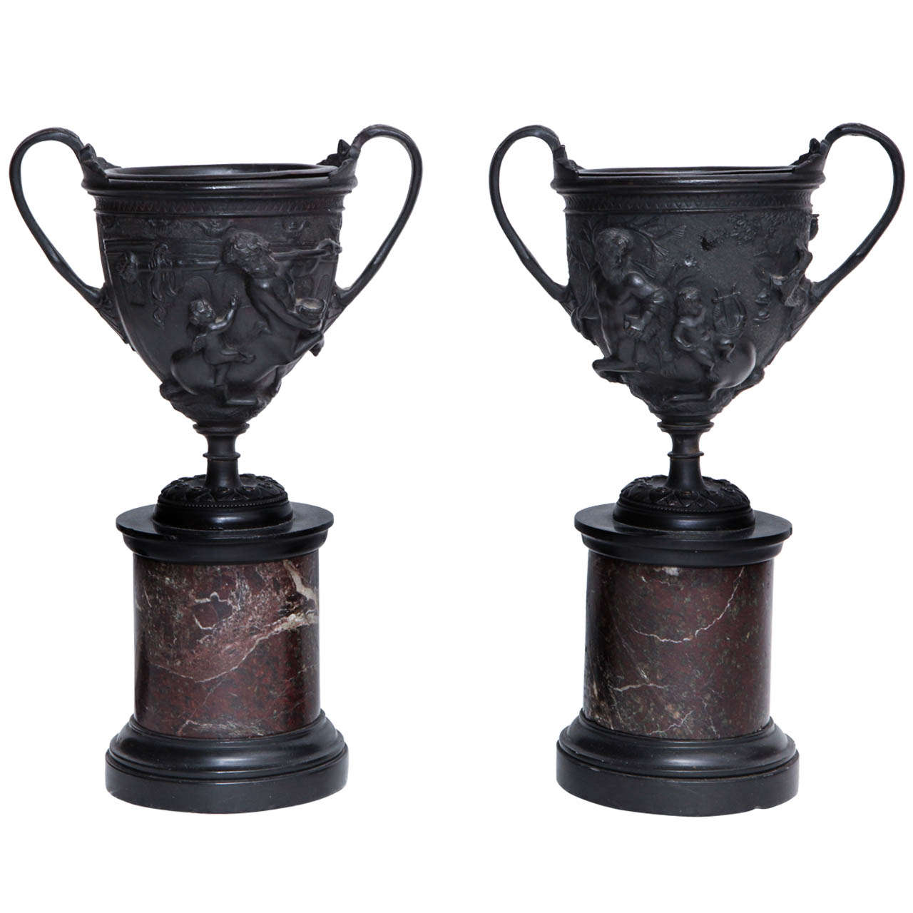 Pair of 19th Century French Bronze Urns