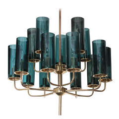 Brass & Blue Glass Tube Chandelier by Hans Agne Jakobsson