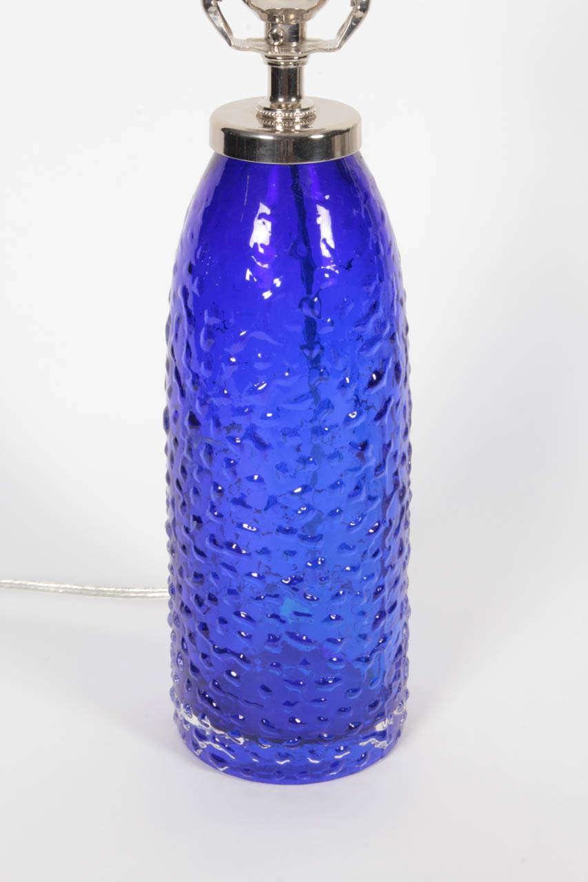 Scandinavian Modern Orrefors Cobalt Blue Glass Lamps  For Sale