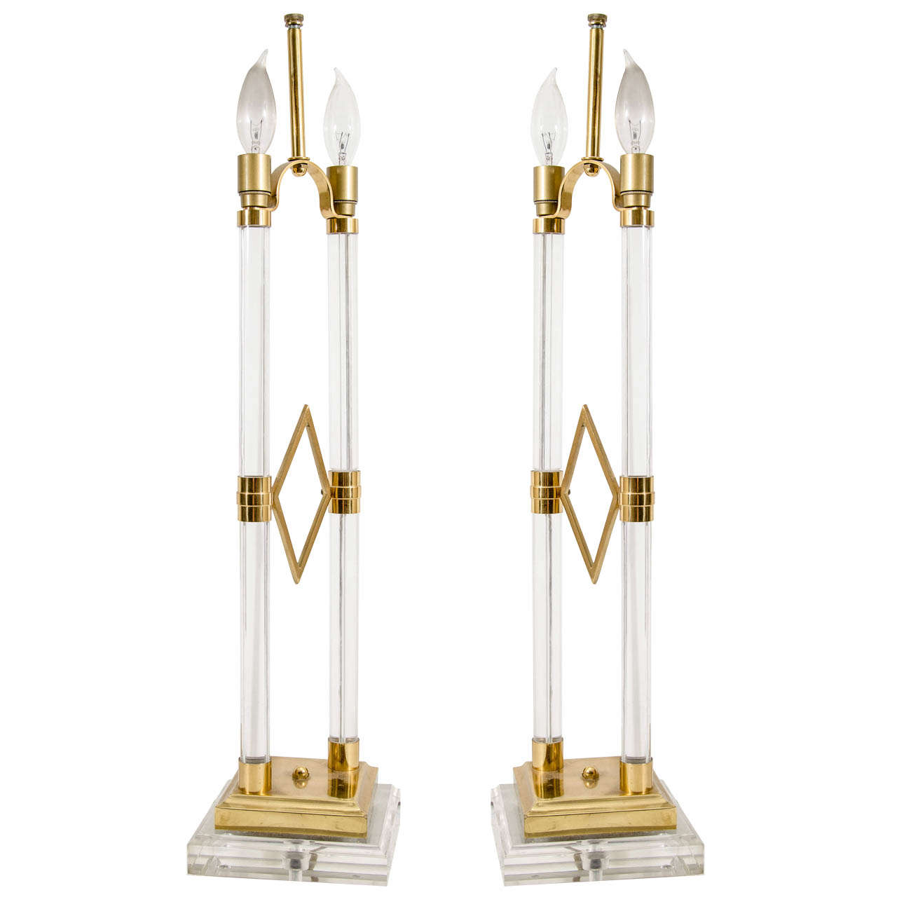 Mid Century Pair of  Lucite Table Lamps with Brass Accents