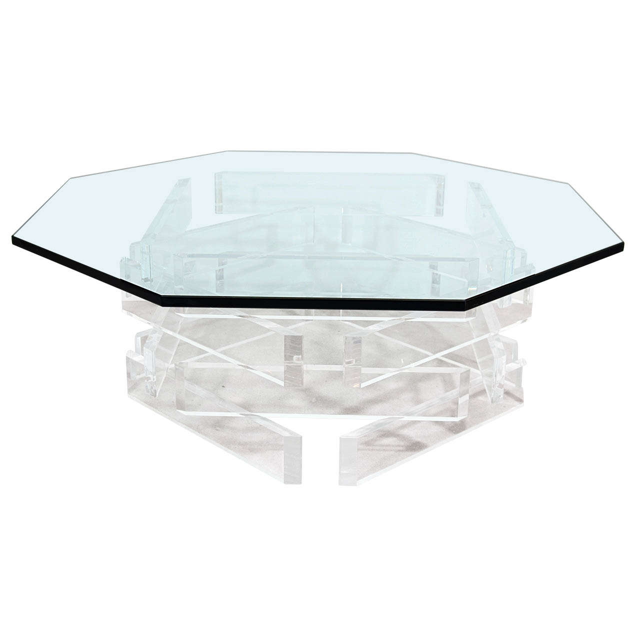 A Mid Century Glass and Lucite Coffee or Cocktail Table