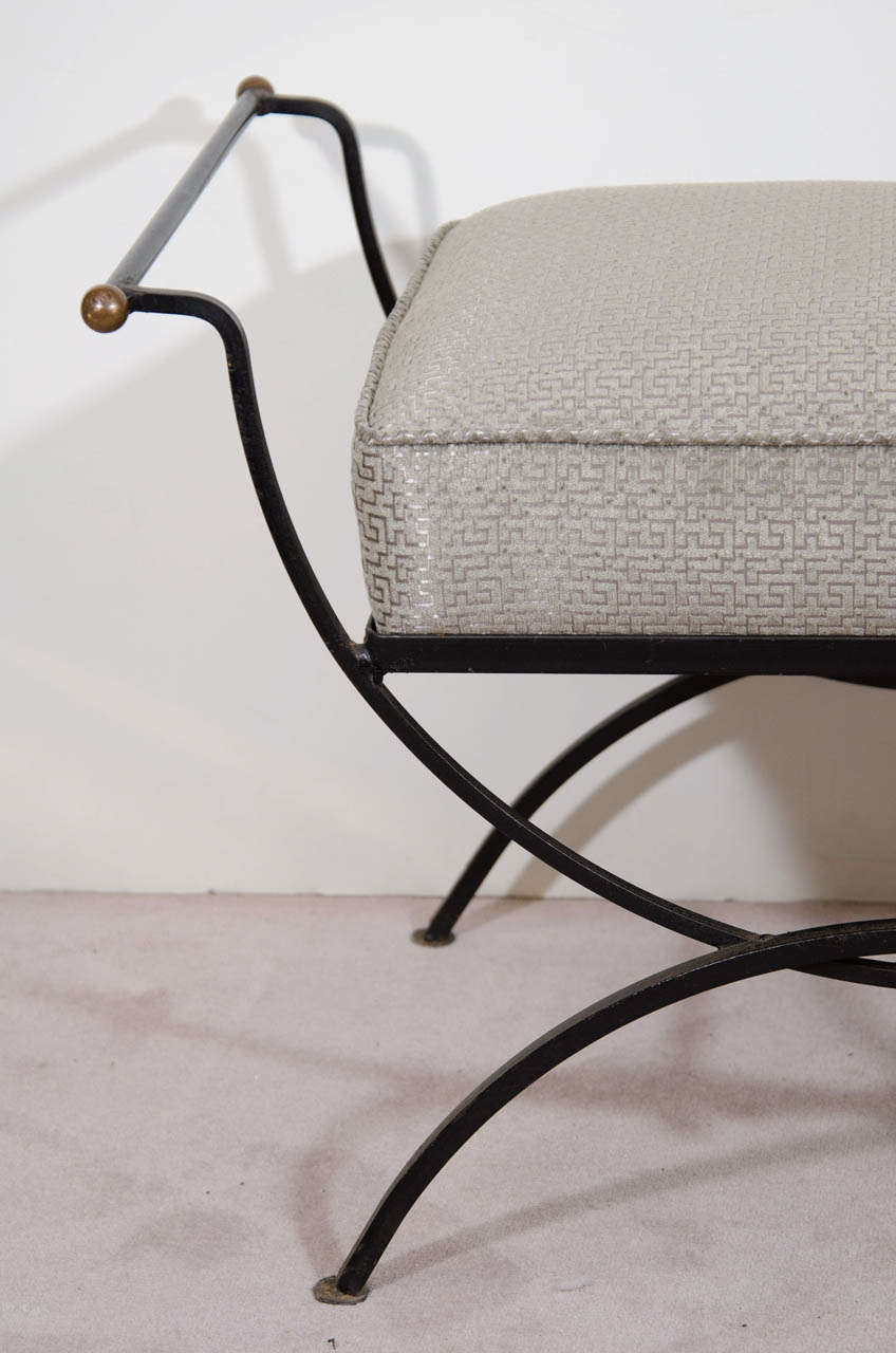 A Mid Century Scroll Arm Iron Bench Or Stool With Brass Ball Accents At 1stdibs