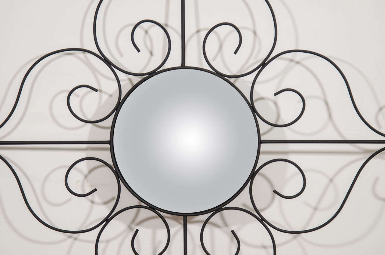 Midcentury French Modern Style Wall Mirror In Good Condition For Sale In New York, NY
