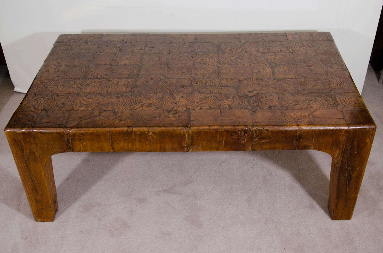 A mid century solid wood block rectangular shaped coffee for Solid block wood coffee table