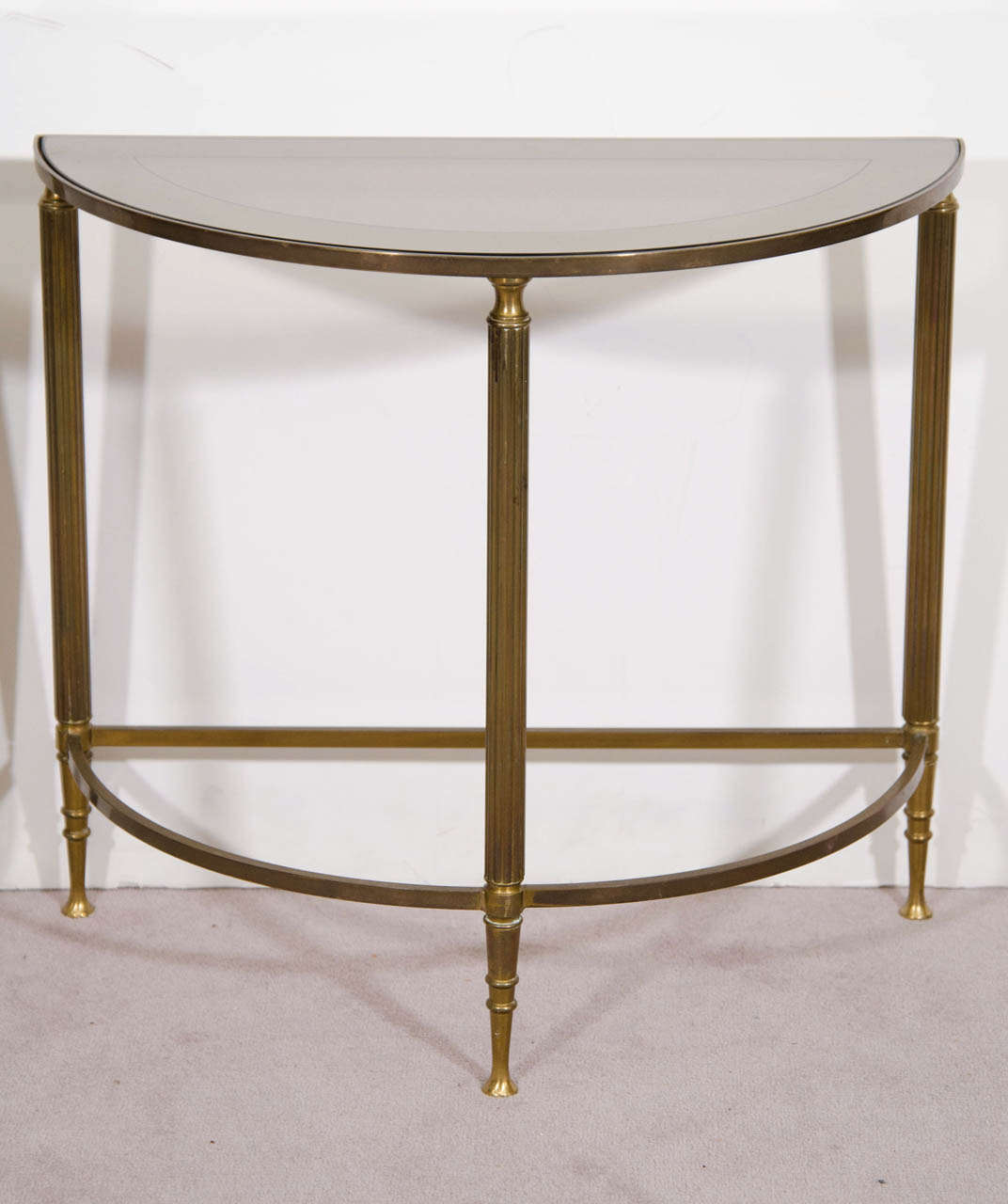 a mid century pair of petite brass and glass demi lune tables at 1stdibs. Black Bedroom Furniture Sets. Home Design Ideas