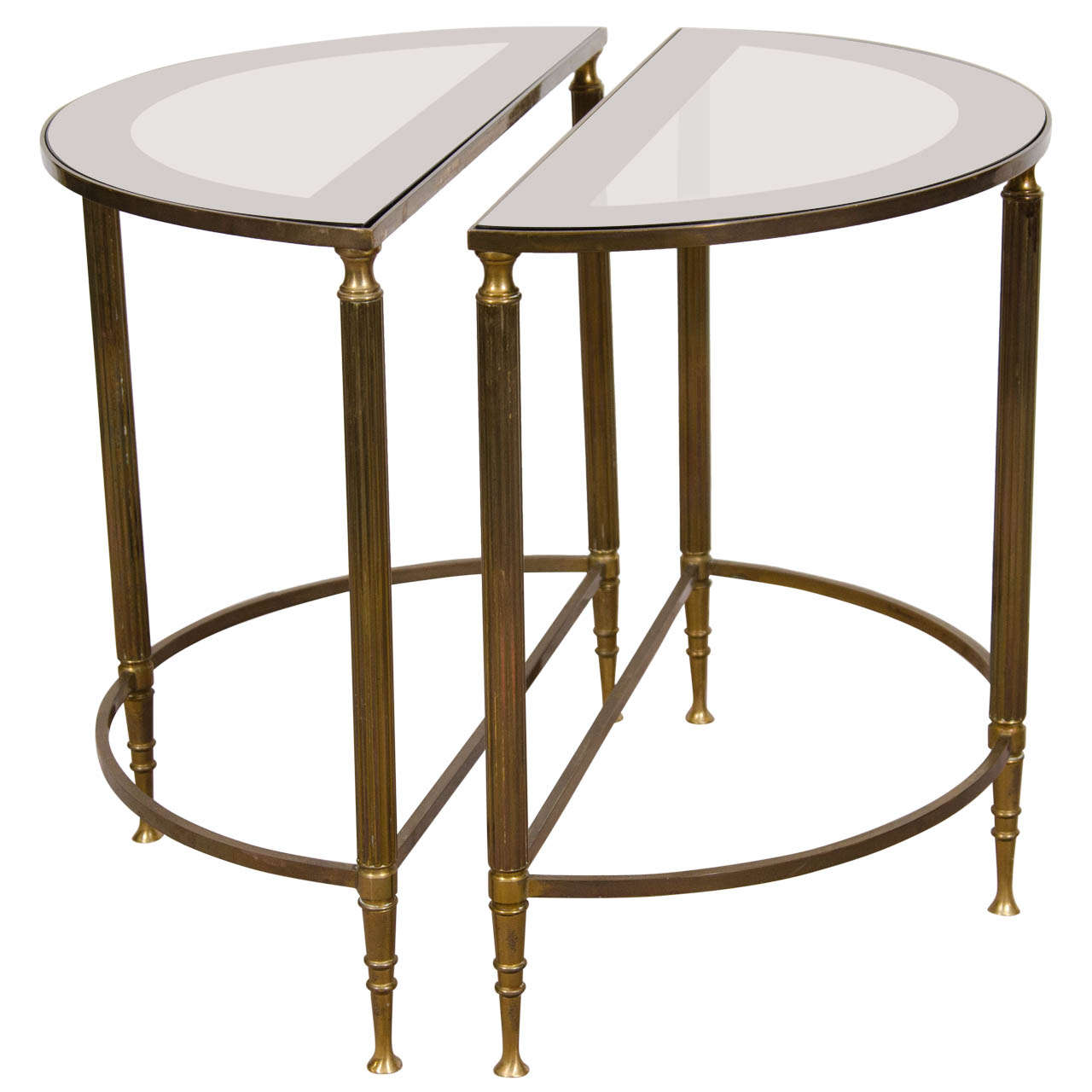 A Mid Century Pair Of Petite Brass And Glass Demi Lune Tables 1