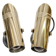 Mid Century Pair of Brass and Enamel Spot Lights or Wall Sconces