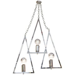 A Mid Century Chrome Chandelier with Three Hanging Triangles