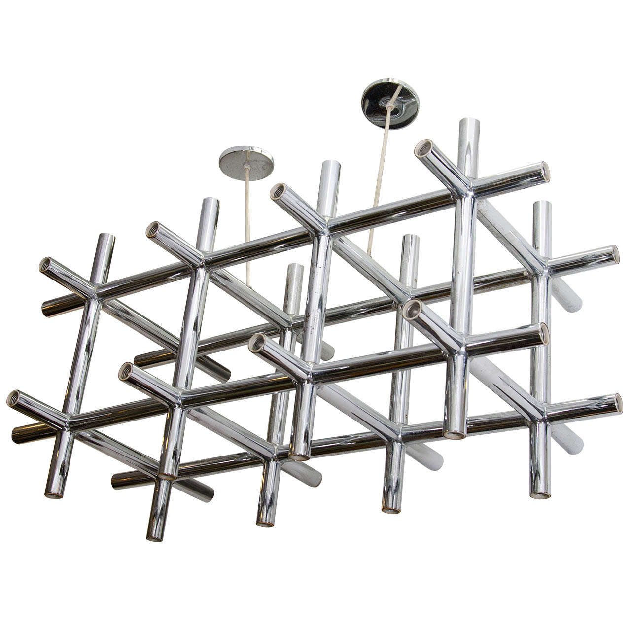 a large modernist italian chrome tubular chandelier at 1stdibs