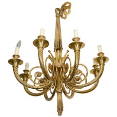 Neoclassical Style Eight-Light Bronze Chandelier