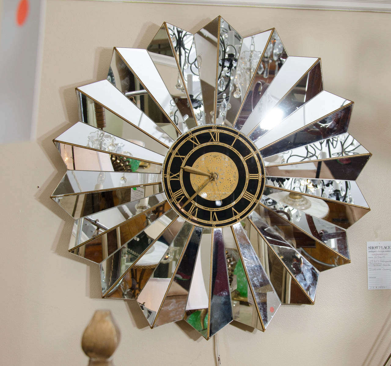 A hollywood regency mirrored glass wall clock at 1stdibs for Hollywood regency wall decor