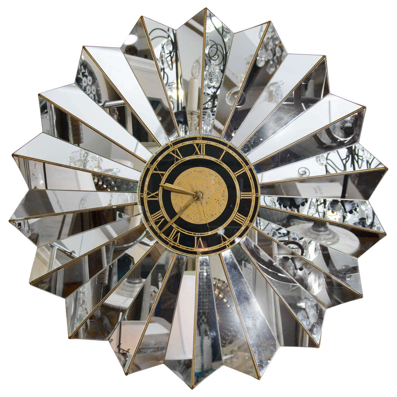 Hollywood Regency Style Mirrored Glass Wall Clock At 1stdibs