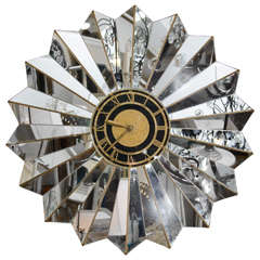 Hollywood Regency Style Mirrored Glass Wall Clock