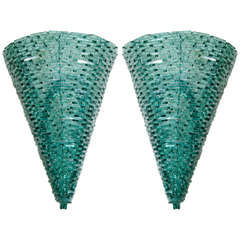 A Mid Century Pair of Glass and Metal Wall Sconces by Tony Duquette