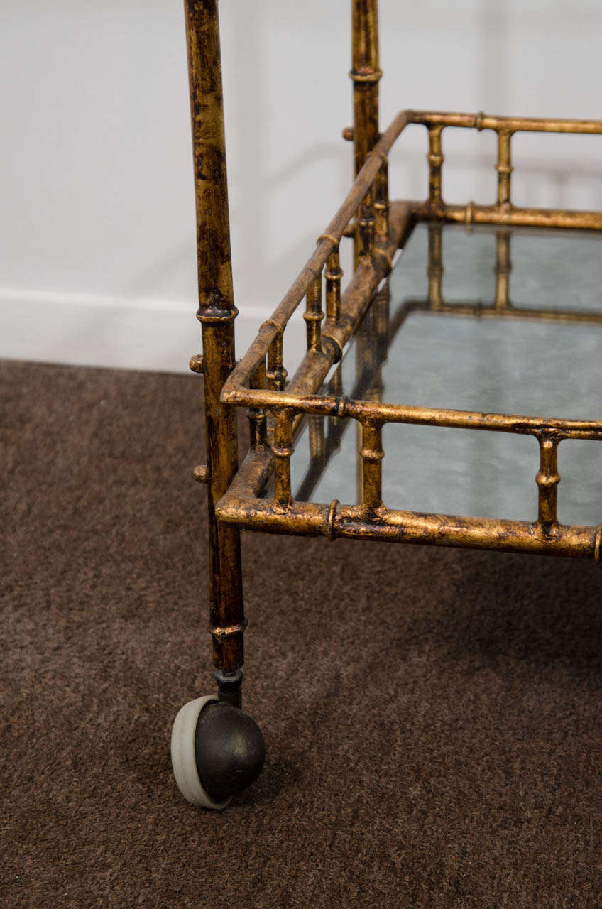 A Mid Century Faux Bamboo Bar Cart in the Style of Maison Bagues In Good Condition In New York, NY