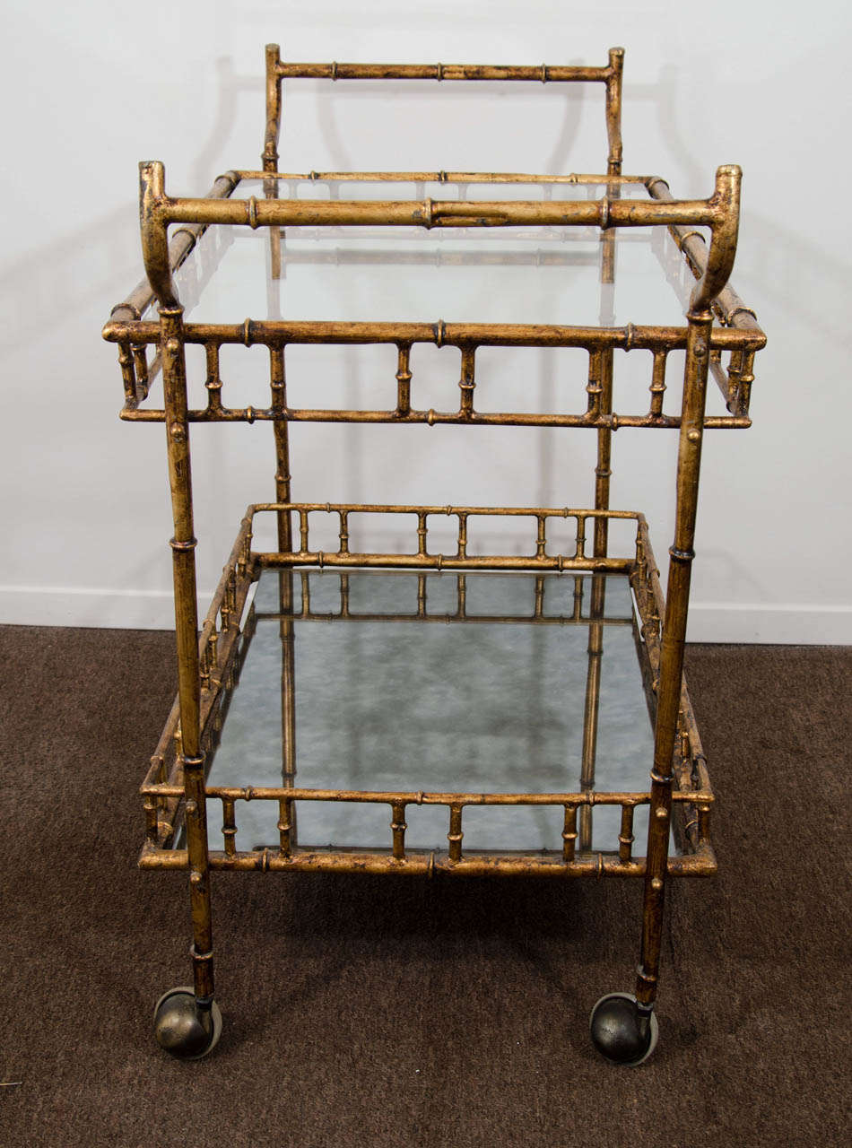 20th Century A Mid Century Faux Bamboo Bar Cart in the Style of Maison Bagues