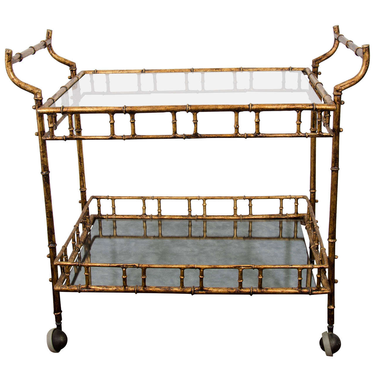 A Mid Century Faux Bamboo Bar Cart in the Style of Maison Bagues