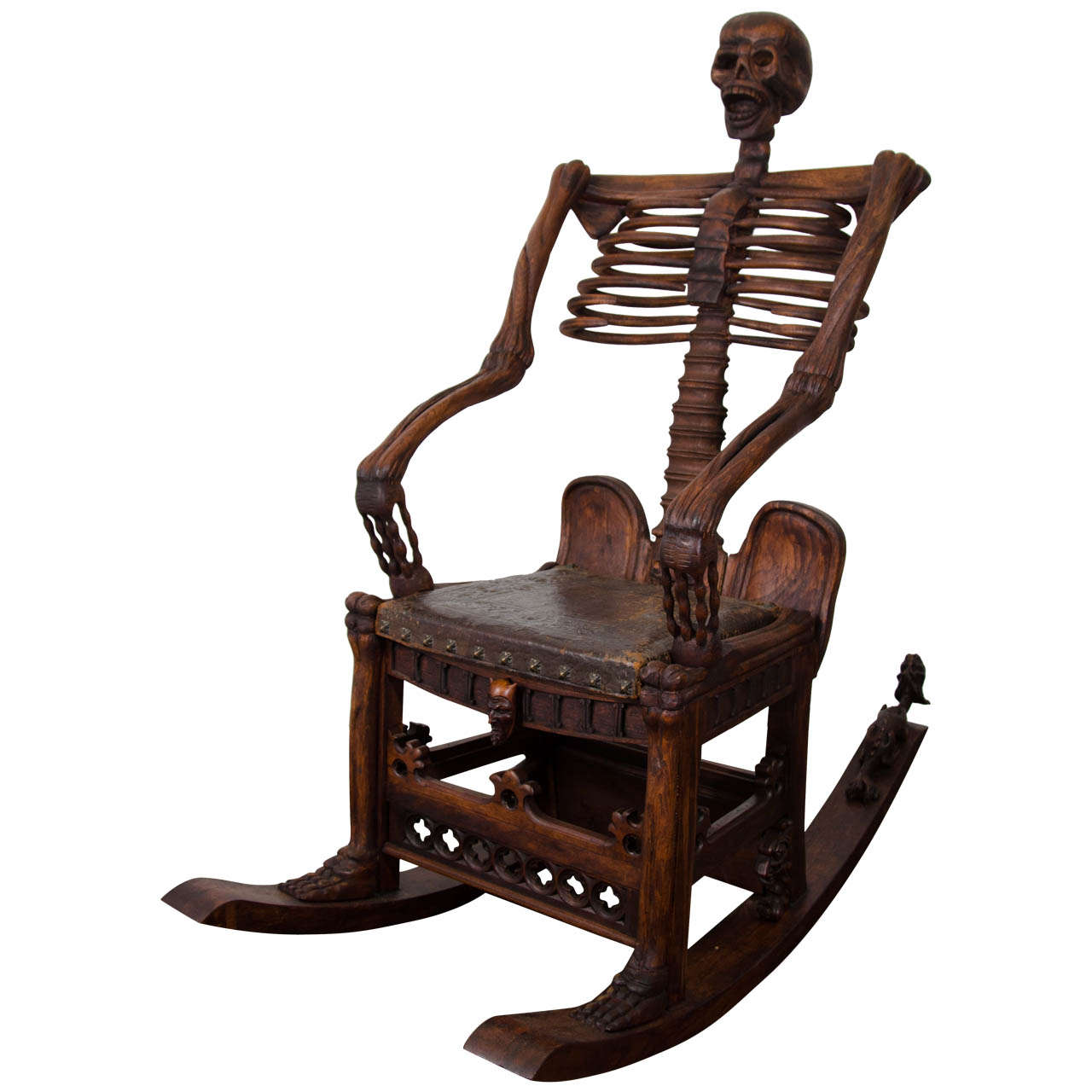 An Antique Hand Carved Skeleton Rocking Chair For Sale