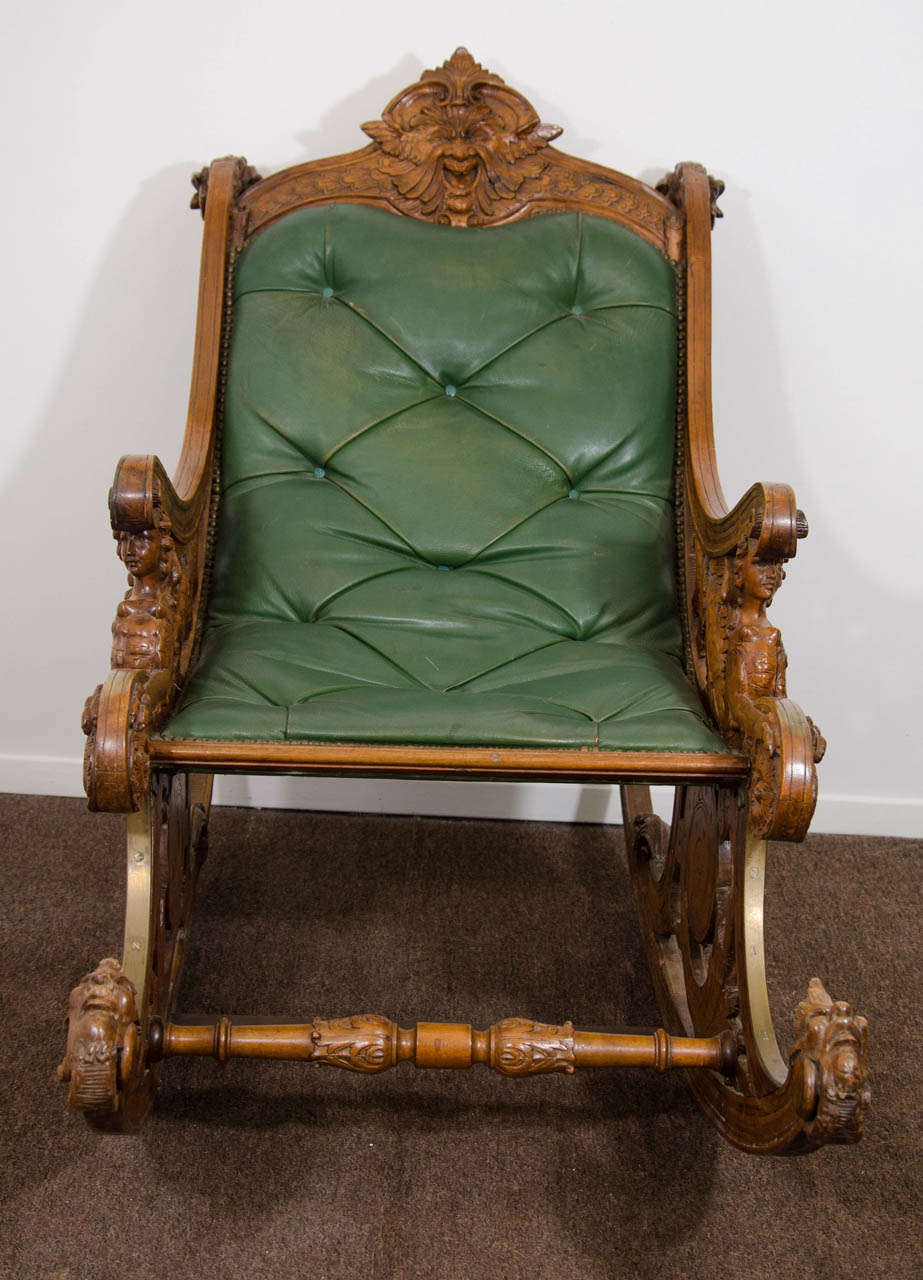 Sensational A 19Th Century Carved Italian Rocking Chair W Griffins And Andrewgaddart Wooden Chair Designs For Living Room Andrewgaddartcom