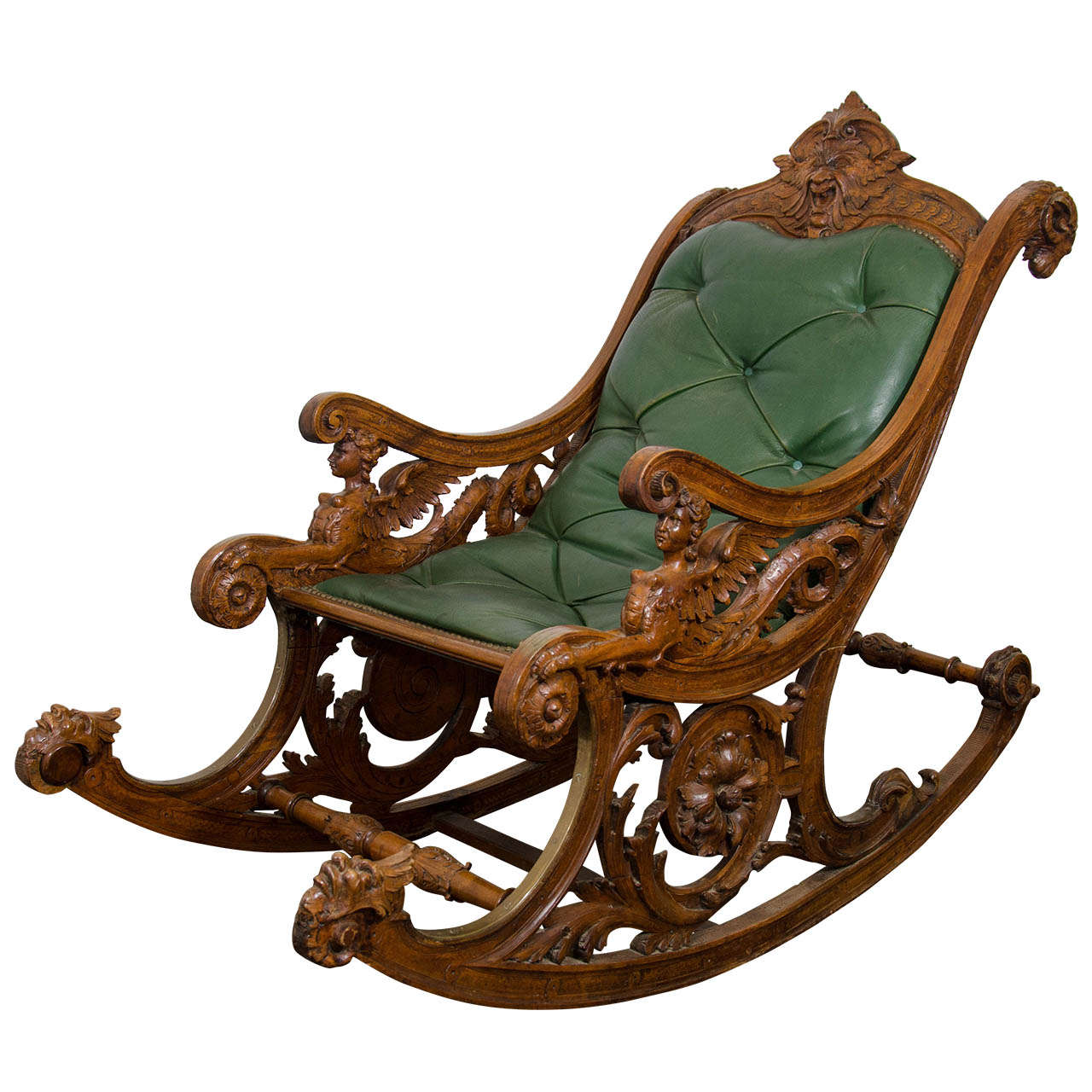 Superbe A 19th Century Carved Italian Rocking Chair W/Griffins U0026 Rams Heads For Sale