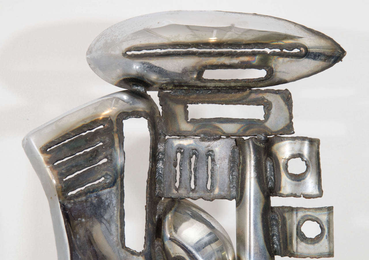American A Mid Century Signed Chrome Car Bumper Sculpture For Sale