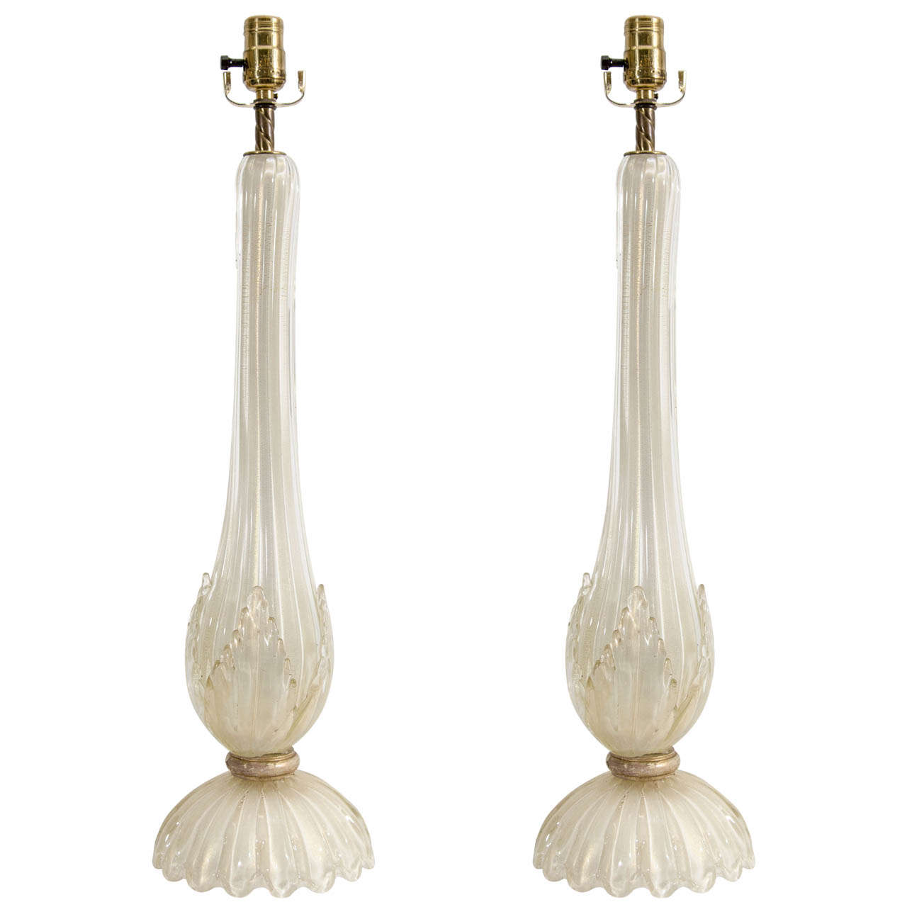 A Midcentury Pair of Barovier & Toso Murano Glass Lamps