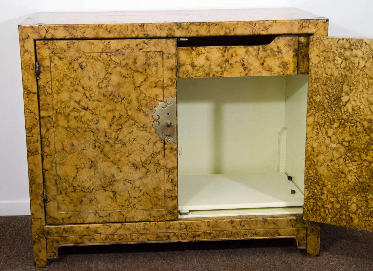 American A Mid Century Asian-Inspired Two Door Cabinet For Sale