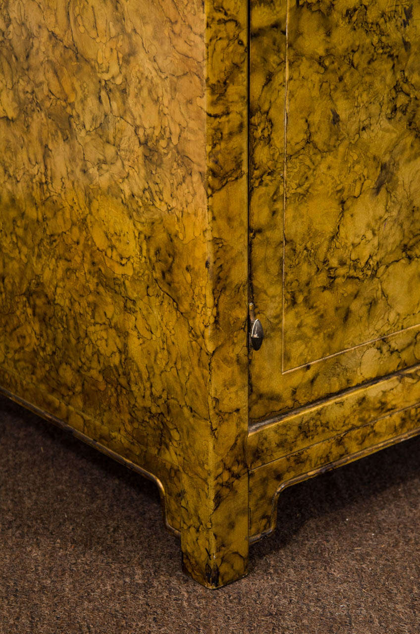 A Mid Century Asian-Inspired Two Door Cabinet In Fair Condition For Sale In New York, NY