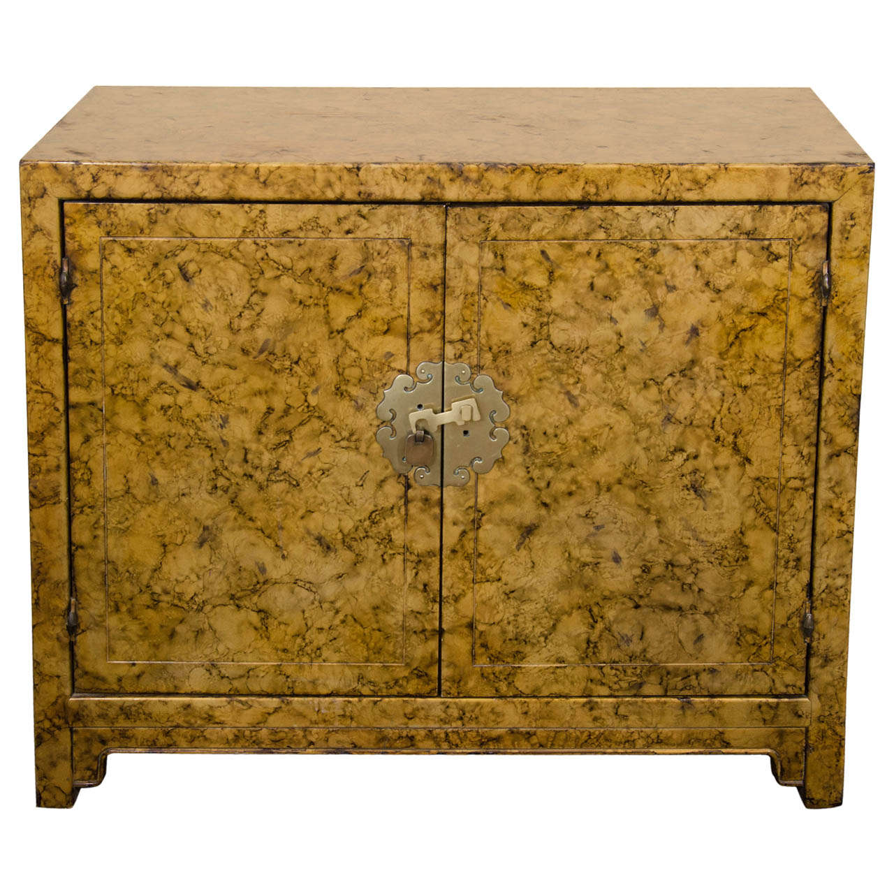 A Mid Century Asian-Inspired Two Door Cabinet For Sale