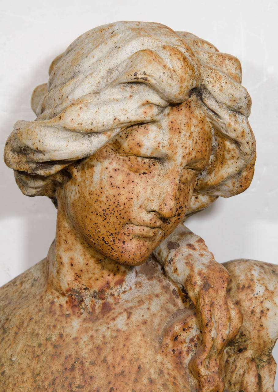 Delicieux French Art Nouveau Cast Iron Garden Sculpture Of A Woman For Sale