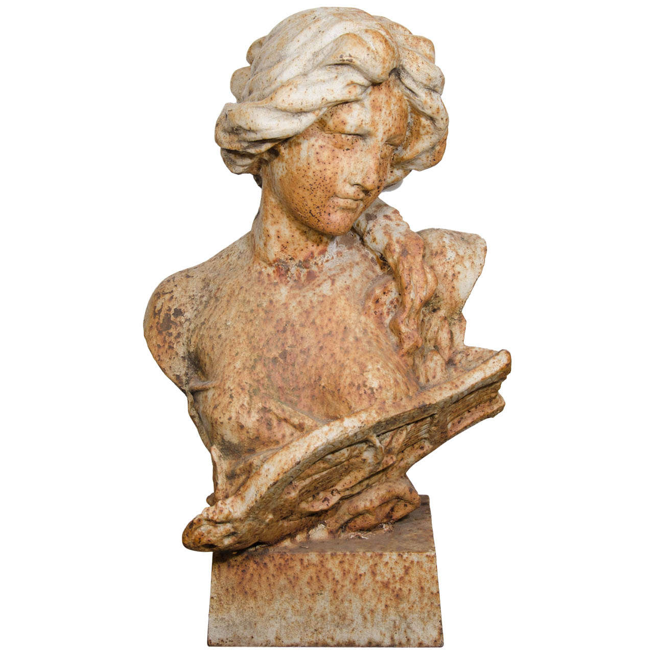 Art Nouveau Cast Iron Garden Sculpture Of A Woman For Sale