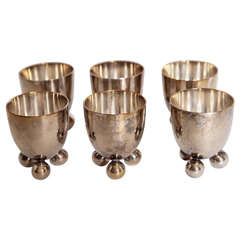 Set of Six German Silver Plate Egg Cups by de Groot for WMF