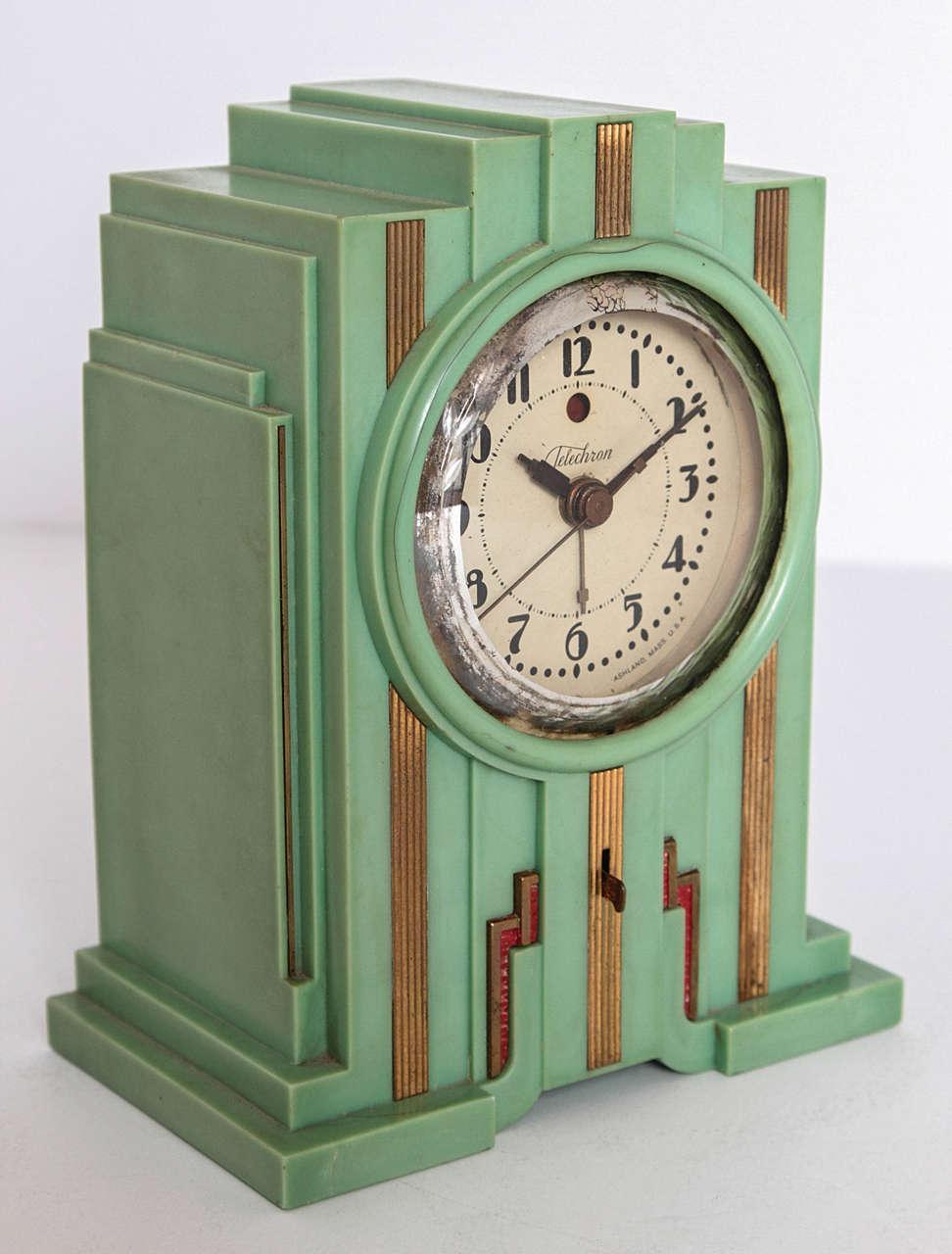 Telechron Skyscraper Art Deco Plaskon Pair Clocks In
