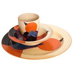 Rare Trio Gray's Pottery Cubist Skyscraper Tableware