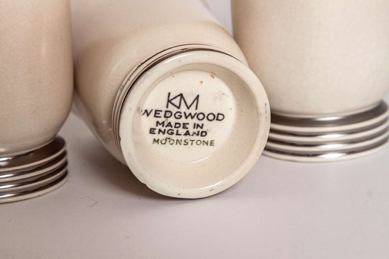 Mid-20th Century Art Deco Keith Murray for Wedgwood Signed Cordials, Set of Six For Sale