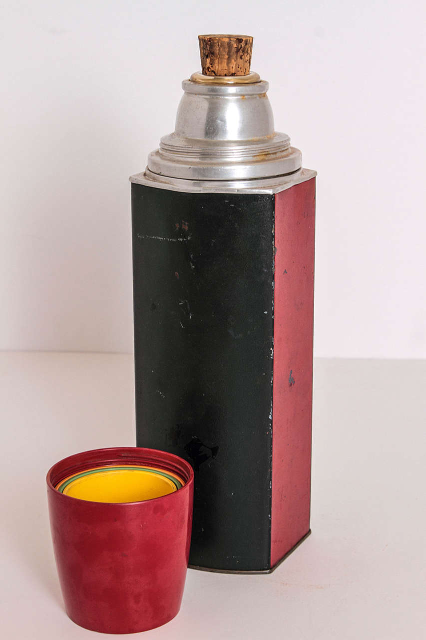 Rare Patented Machine Age Thermos Design by Henry Dreyfuss In Fair Condition For Sale In Dallas, TX