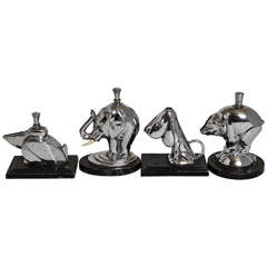 Set of Four Original Ronson Figural Striker Lighters
