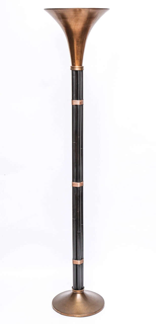 1930s American Modernist Art Deco Torchere By Russel