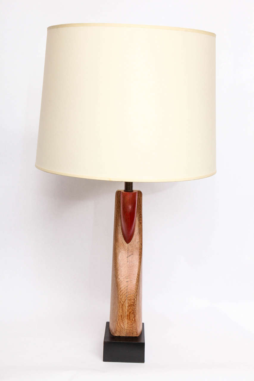 Wood Pair of 1940s Sculptural Table Lamps For Sale