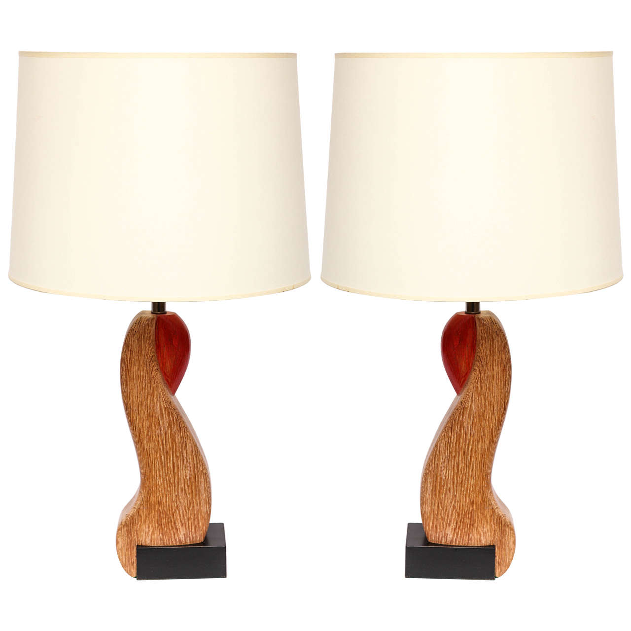 Pair of 1940s Sculptural Table Lamps