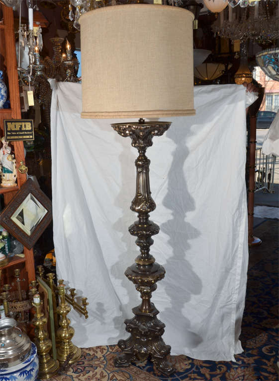 Baroque style candleholder as large floor lamp for sale at 1stdibs baroque style brass candle holder as a floor lamp shown with 22 aloadofball Images