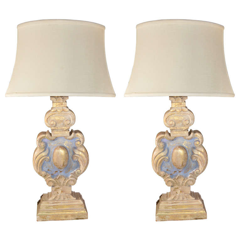 19th Century, Italian carved Balusters as table lamps