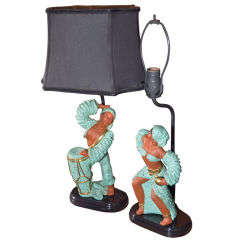 Pair, 1950\'s Whimsical Chalk Figures as Table Lamps