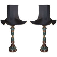 Pair, Asian Bronze with green marble inserts.