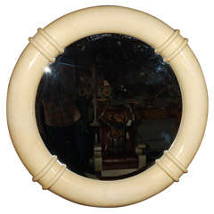 Vintage Faux Parchment Mirror Attributed to Karl Springer