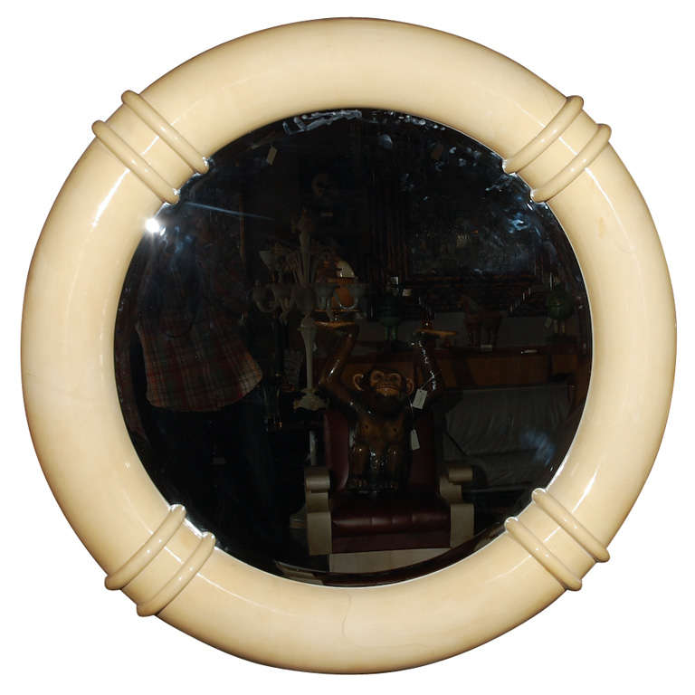 Vintage Faux Parchment Mirror Attributed to Karl Springer For Sale